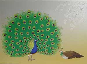 日和麗麗孔雀の図