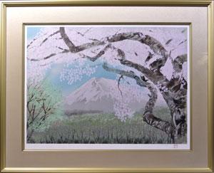 桜花霞富士
