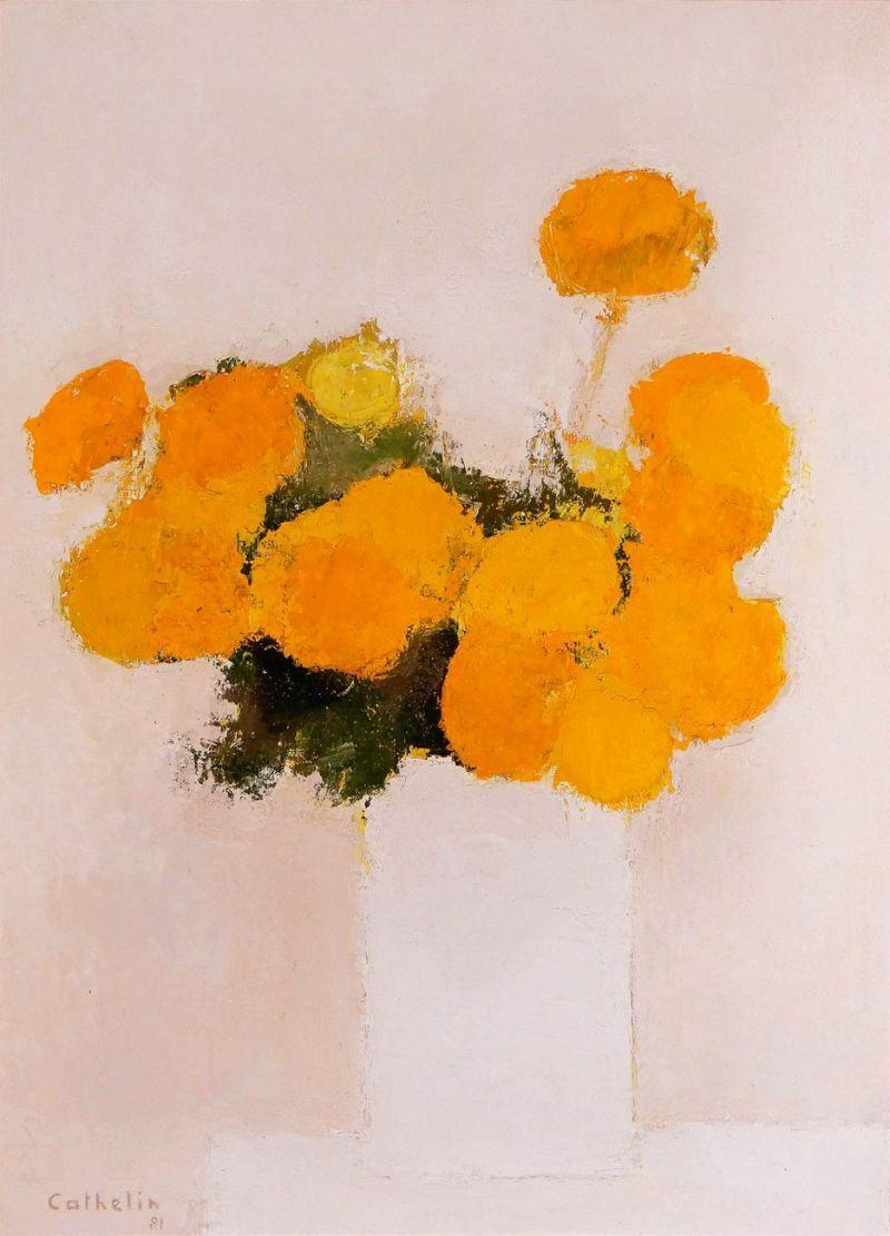 センジュギクの花束(油彩20号)